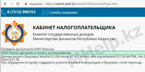 Проверка доступности плагина КНП на специальном сайте